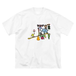 考えさせてます Big silhouette T-shirts