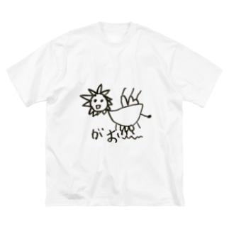 カカシドットコムの長男の絵 ライオン Big silhouette T-shirts