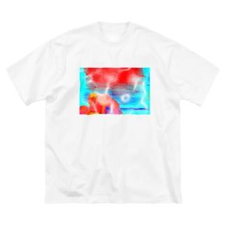 Danke Shoot Coffeeの天保山武甲山の朝焼け Big silhouette T-shirts