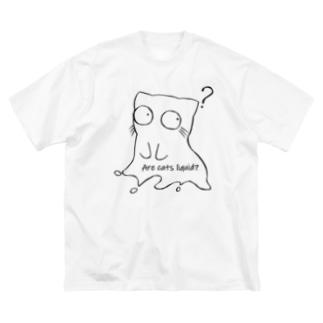 B6_6bitのLiquid Cat(黒) Big silhouette T-shirts