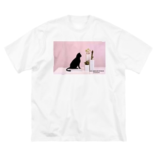 黒猫 ビックtシャツ Big silhouette T-shirts