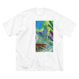 FRESH⭐︎DRAWING 2020の山々畑Greenのdrawing Big silhouette T-shirts
