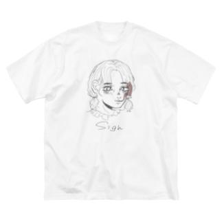 smoking girl(モノクロ) Big silhouette T-shirts
