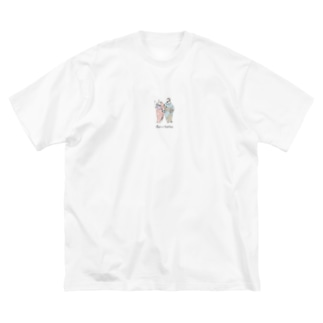 プラとアリ 文字 Big silhouette T-shirts