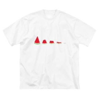 スイカ食べちゃった Big silhouette T-shirts
