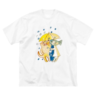 好きな人と相合傘 Big silhouette T-shirts