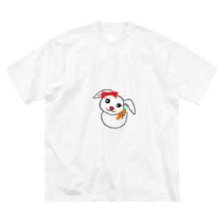 にんじんを持つうさぎちゃん Big silhouette T-shirts