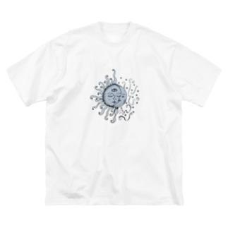 太陽と月 Big silhouette T-shirts