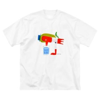 アマビエ風みず飲み鳥 Big silhouette T-shirts