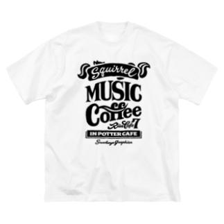 りすカフェ7(黒ロゴ) Big silhouette T-shirts