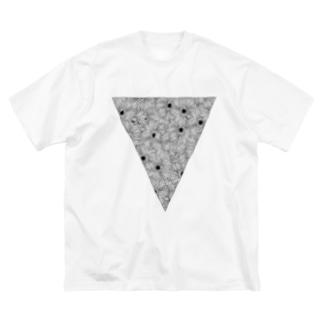 三角お花 ビッグT(黒線) Big silhouette T-shirts