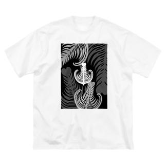【ラテアート】ブラックリーフ Big silhouette T-shirts