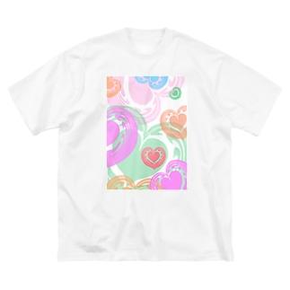 【ラテアート】カラフルハート Big silhouette T-shirts