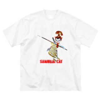 Rock catのSAMURAI CAT 槍 Big silhouette T-shirts