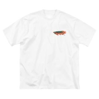 キナッコさんちのアジアアロワナ(赤) Big silhouette T-shirts