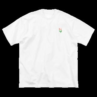 のやま うろこのちょこんとチューリップ Big silhouette T-shirts