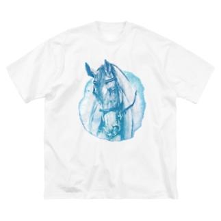 サラブレッドのお顔Tシャツ(ブルー) Big silhouette T-shirts