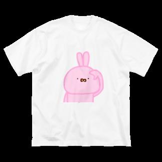 cocomarinのゆるうさぎ Big silhouette T-shirts