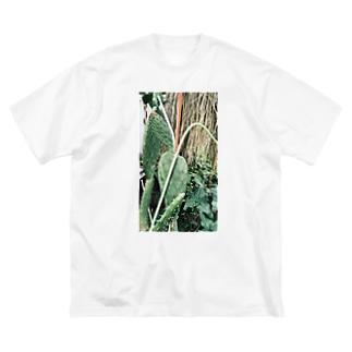 植物 サボテンの風景 Big silhouette T-shirts