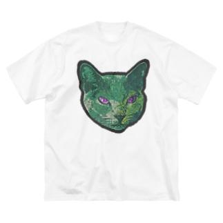 色彩キャット/緑 Big silhouette T-shirts