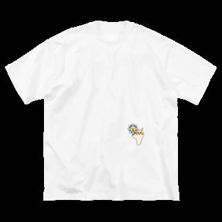 あしゆびふれんずのあしゆびらいおん(ブルー) Big silhouette T-shirts