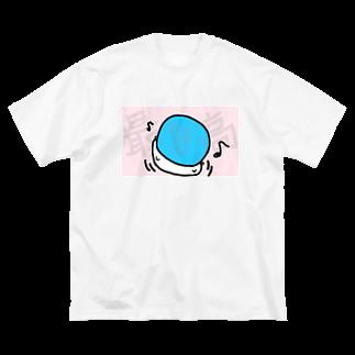 ダイナマイト87ねこ大商会のボールを顔面に乗せて遊ぶねこです Big silhouette T-shirts