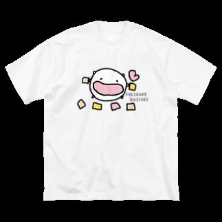 ダイナマイト87ねこ大商会のふりかけの小袋(中は空っぽ)を集めるねこです Big silhouette T-shirts