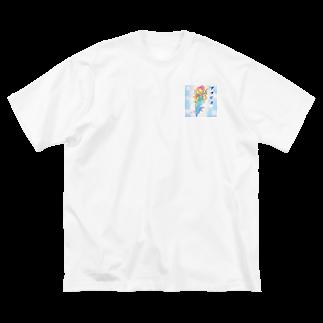 ぱんだうさぎ亭リズのアマビエさま。薄め Big silhouette T-shirts