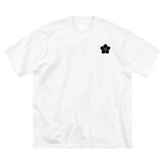 明智家の家紋(桔梗) Big silhouette T-shirts