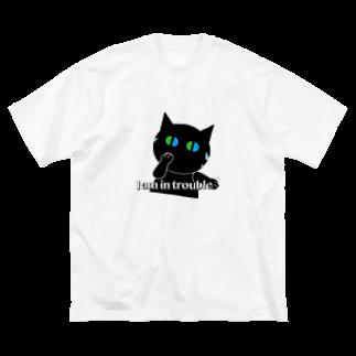 POPUP_KOBE_MARIKOの困った〜焦るねこ Big silhouette T-shirts