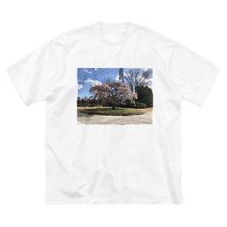 桜満開! Big silhouette T-shirts
