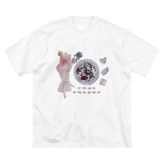 おりぼんちゃんと灰皿とチョコ Big silhouette T-shirts
