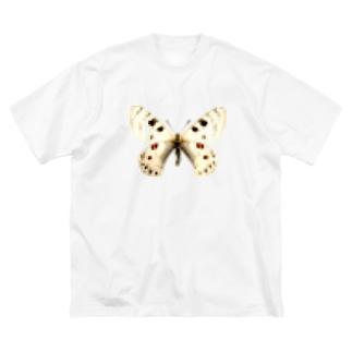モザイクがかった白い蝶 Big silhouette T-shirts