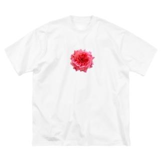 爛々と咲く濃いピンクの薔薇 Big silhouette T-shirts