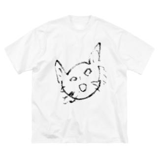 ネコじゃない Big silhouette T-shirts