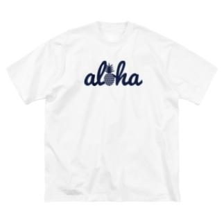 aloha(star)018 navy Big silhouette T-shirts