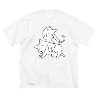 ゆるねこいぬ。 Big silhouette T-shirts