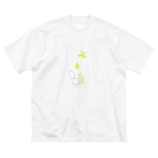 アオリイカと花 Big silhouette T-shirts