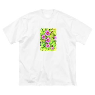 道端の花 ニワゼキショウ(カラフル) Big silhouette T-shirts