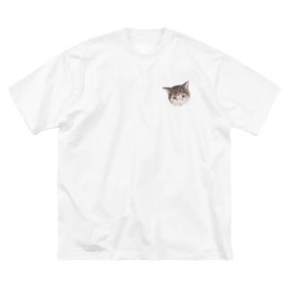 ハチワレトラのくっくさん Big silhouette T-shirts