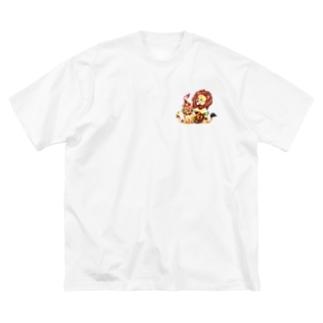 *えいぷりる どぎぃ工房*の親子ライオン Big T-shirts