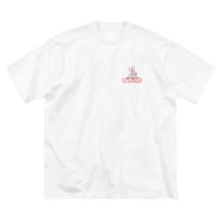 USAGI T / ピンク Big silhouette T-shirts