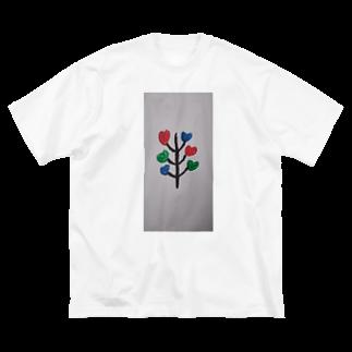 まるあるちの愛ハートの木 Big silhouette T-shirts