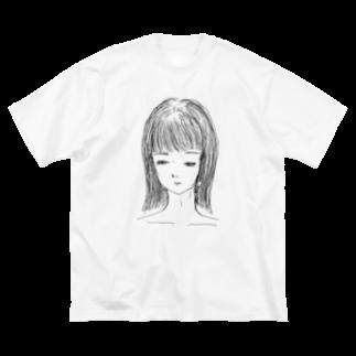 nutsnutsnutsの伏目少女 Big silhouette T-shirts