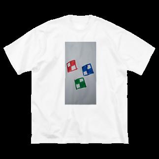 まるあるちのチェックな四角 Big silhouette T-shirts