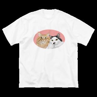kinako-japanの猫社長さん 猫専務さん ピンク Big silhouette T-shirts