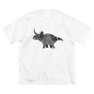 トリケラトプス Big silhouette T-shirts