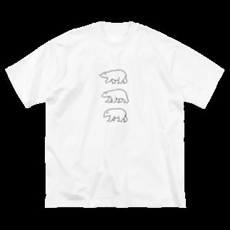 ハルクマのシロクマトリオ Big silhouette T-shirts