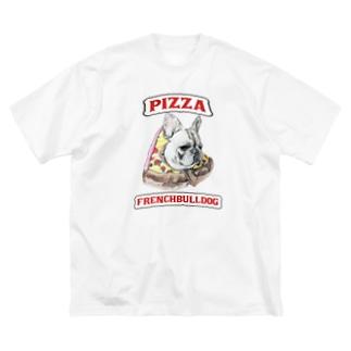 pizza フレンチブルドッグ Big silhouette T-shirts