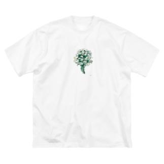マーガレットの花束 Big silhouette T-shirts